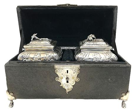 A very fine pair of George III silver tea caddies in a period shagreen box, 1761