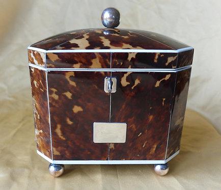 A fine George III tortoiseshell double tea caddy