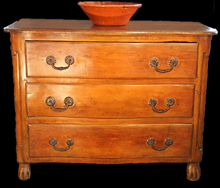 A rare 18th C Chippendale style French Canadian serpentine commode, Quebec