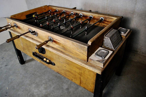 A fabulous 1930's fully functional coin-operated Foosball Table, likely Italian