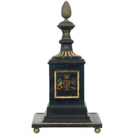 An early 19th C English Regency period painted & parcel gilt newel post c1810-20