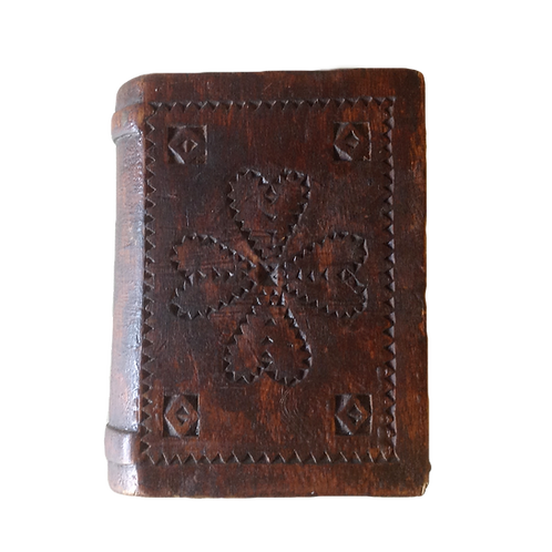 A small 19thC book box from the Maritimes, untouched surface, carved decoration