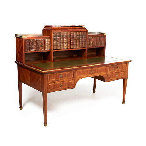 An important French marquetry Louis XVI-style desk, book-binding doors, c1900