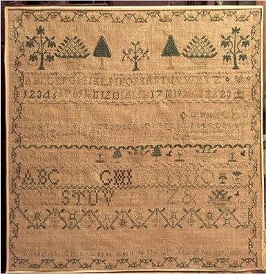 A 19th C Canadian sampler by Mahalah Alice Cann, Yarmouth, Nova Scotia, 1837