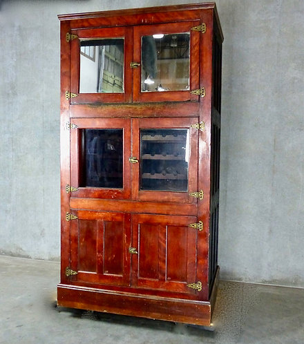A late 19th C large wooden beer fridge from McCuddy's Tavern, Chicago