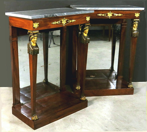 A fine pair of early 19th C Empire Period marble-topped console tables, c1820