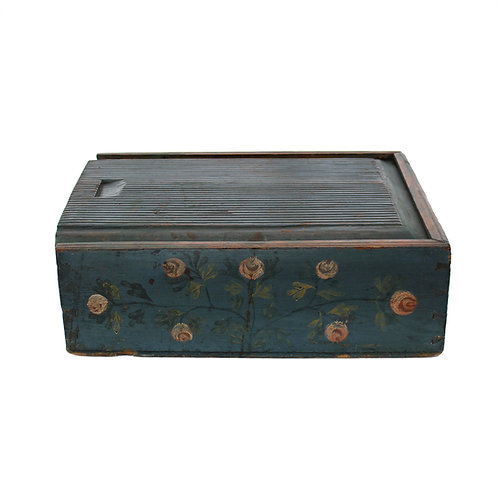 A 19th C Scandinavian inscribed box of dovetailed construction, probably Swedish