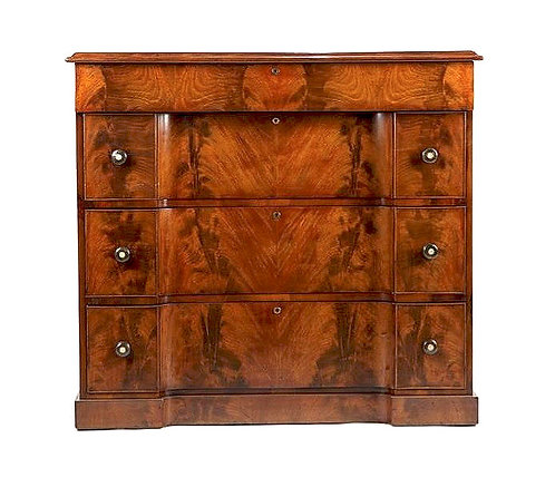 A superb William IV flame mahogany inverted breakfront chest of drawers, c1830