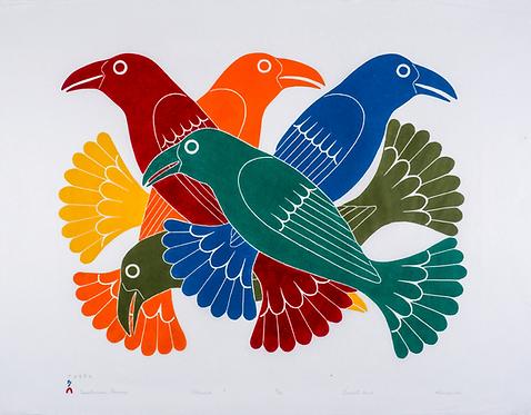 KENOJUAK ASHEVAK, C.C., R.C.A. (1927-2013) 'Spectacular Ravens', 2003