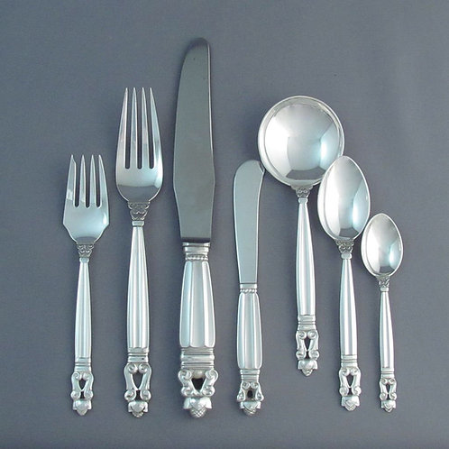 A sterling silver Georg Jensen Acorn flatware set for 12, post 1945, 94 pieces