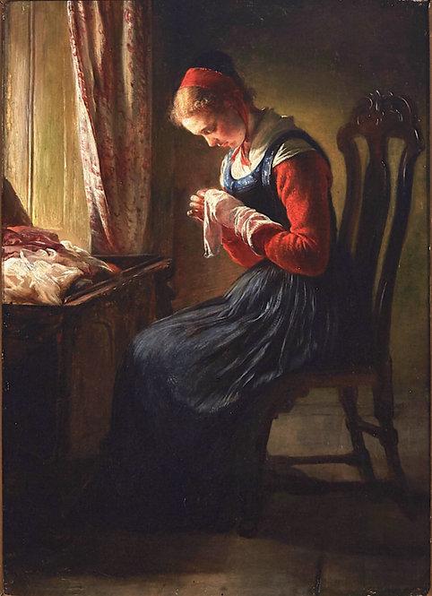 "Elisabeth Jerichau-Baumann (Danish, 1819-1881) ""The Stocking-Mender"" c1868"