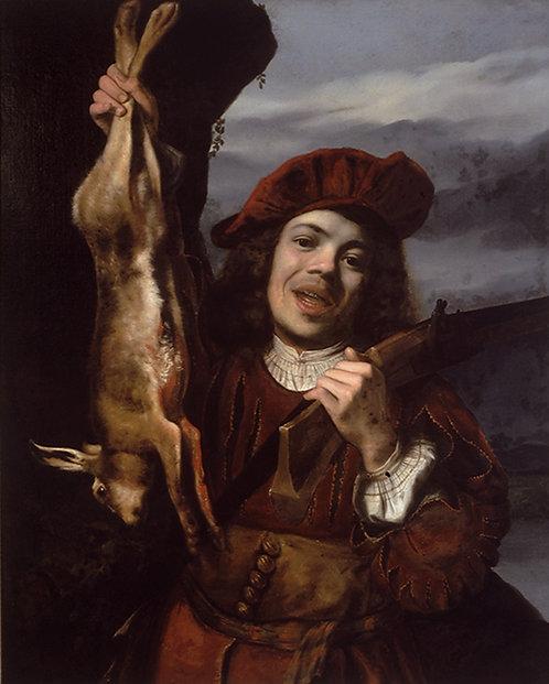 Lambert Doomer (Dutch 1624-1700) Junger Jager, signed & dated 1648