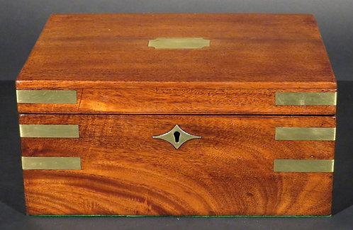 A fine & rare 19th C Canadian brass bound mahogany writing box, dated 1840