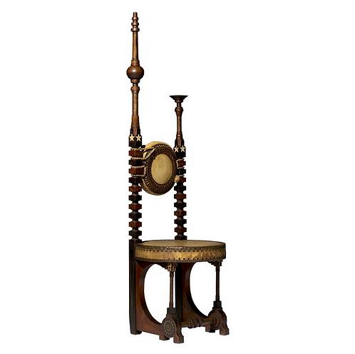 """A rare """"Mosque"""" chair by Carlo Bugatti (Italian, 1856-1940) c1902"""