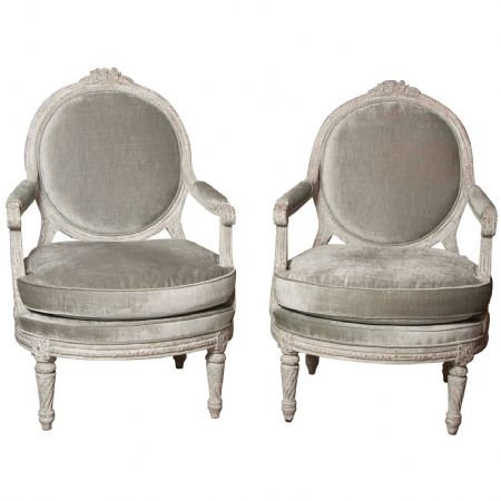 An impressive pair of Italian late 18th C painted Neo-Classical armchairs, c1780