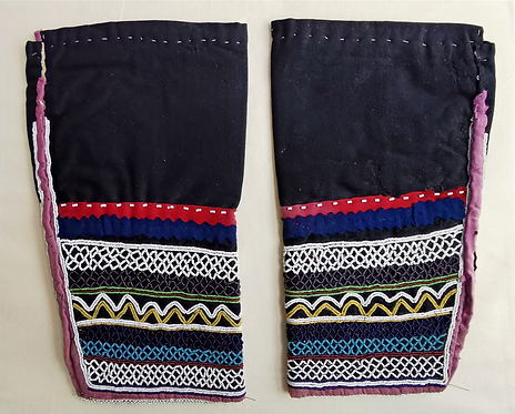 Late 19th C Northern Plains pair of glass bead decorated leggings, Saulteaux