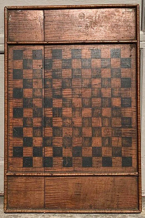 A 19th C gameboard made of thick and densely striped solid tiger maple