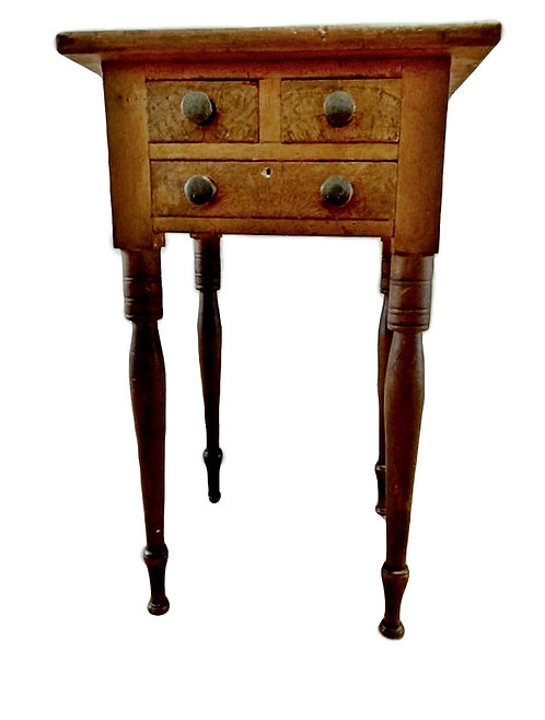 A rare Canadian 19th C three drawer pine lamp table, Waterloo County, Ontario