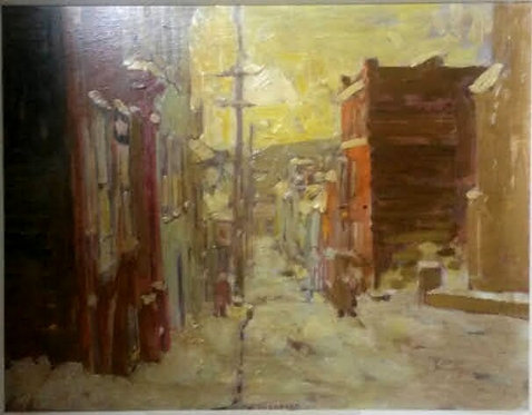 "Arto Yuzbasiyan (Canadian, 1948-) ""Rue des Ursulines"" oil on board"