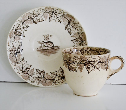 A 19th C Furnival Pottery 'Maple Pattern' cup & saucer, for the Canadian market