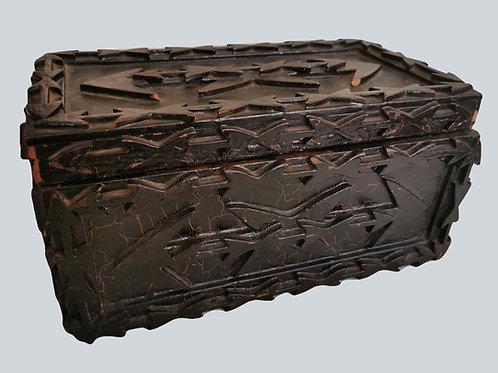 A 19th C Canadian Folk Art harpoon tramp art ditty box, Nova Scotia