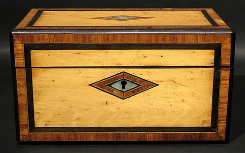 A very good inlaid Regency period pearwood tea caddy, England, circa 1825