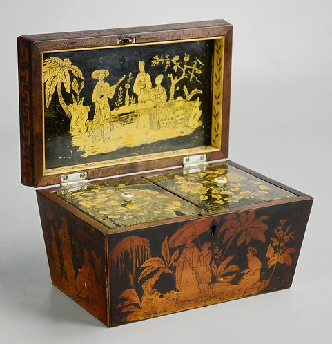 A fine early 19thc double tea caddy with penwork Chinoiserie decoration