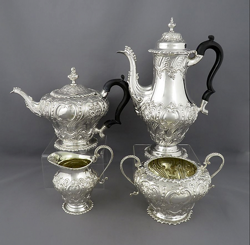 A late Victorian sterling silver tea set by W & G Sissons, London 1895-6