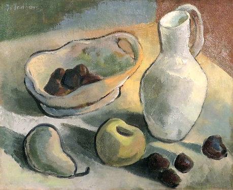 Denyse Gadbois (Canadian, 1921-2013) 'Still Life, Apples & Prunes' oil on canvas