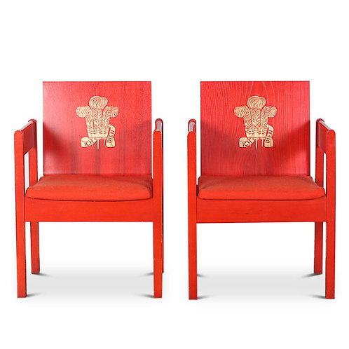 A pair of Chairs, designed by Lord Snowdon, for The Prince of Wales Investiture