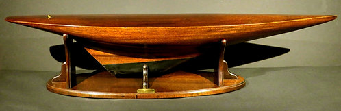 A mahogany model of a Racing Yacht Hull with Canadian Military Provenance, c1920
