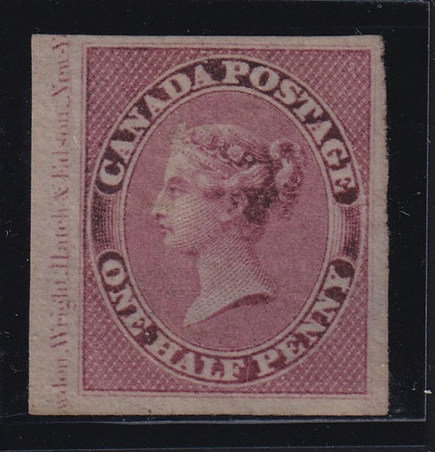 Canada Sc #8var (1857) 1/2d Victoria Pence Inscription, Soft Thick Paper Unused