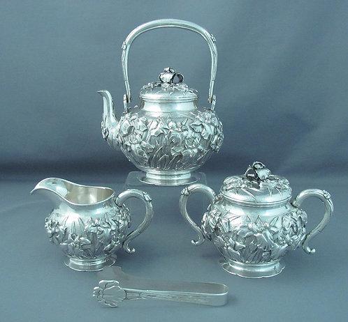 A Meiji period Japanese silver tea set Watanabe Zo, Yokohama c1900