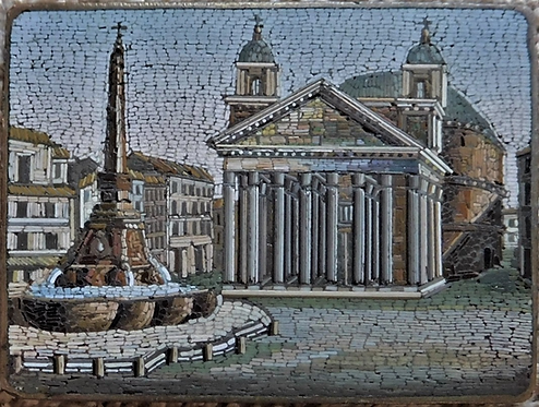 A late 19th C Italian micro-mosaic plaque depicting the Pantheon Palace, c1880