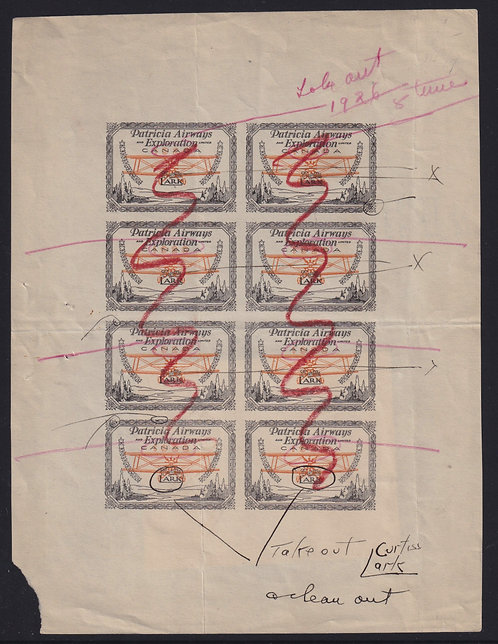 Canada c.1928 Patricia Airways Semi-Official Airmail U.A. Transition Proof