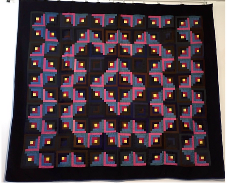 A Mennonite Barn Raising Log Cabin quilt, Waterloo County, c1930
