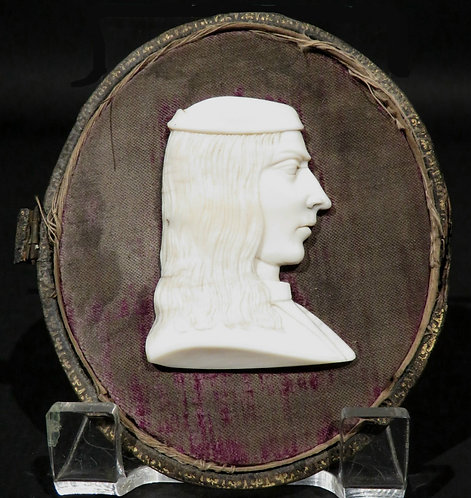 An 18th C Grand Tour ivory profile portrait bust, Italy, c1780