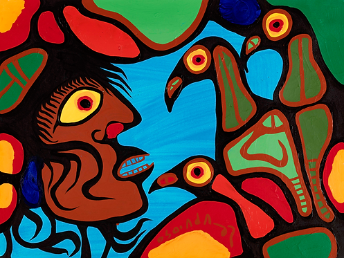 NORVAL MORRISSEAU, C.M. (1931-2007) 'Shaman and Birds' late 1970s