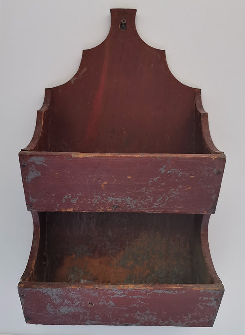 A mid-19th C Canadian wall mounted candle box, Ontario