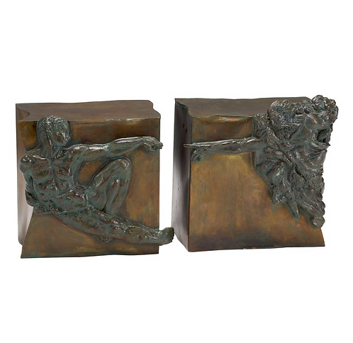 "Rare pair of bronze side tables ""Creation of Man"" Philipp & Kelvin Laverne, 1965"