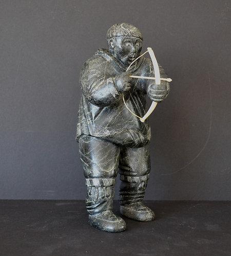 Charlie Sivuarapik (Povungnituk) 'Archer', stone & antler sculpture