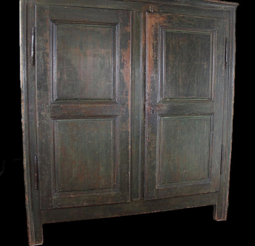 A fine late 18th C Regence French Canadian armoire with original paint, Quebec