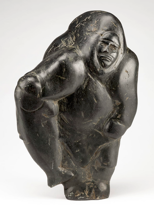 BARNABUS ARNASUNGAAQ (1924-2017) 'Standing woman with caught fish' circa 1980