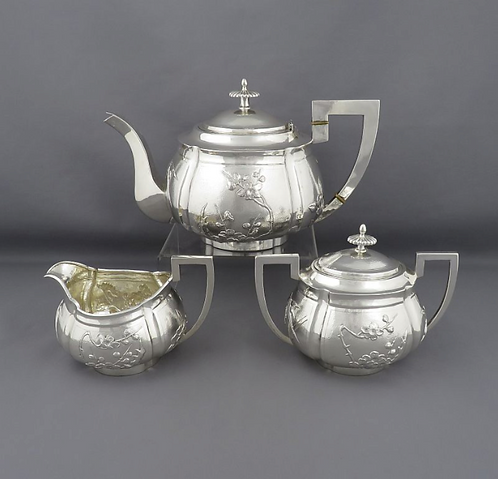 A Chinese Export Silver tea set by Zeesung, Shanghai c1910