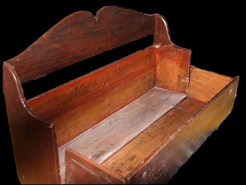 An early 19th C banc de Quéteux / Beggar's bench, in original sang de boeuf