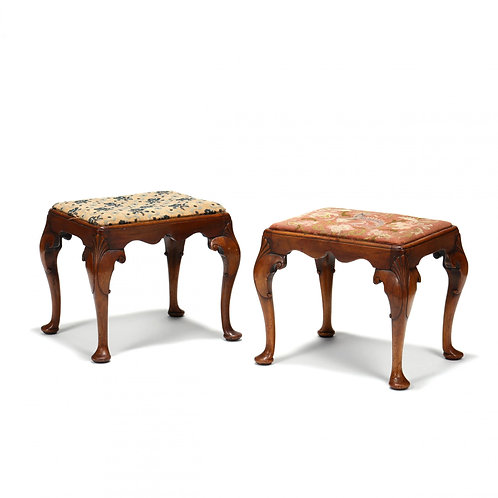 A very rare pair of George II mahogany stools, with needlepoint upholstered seat