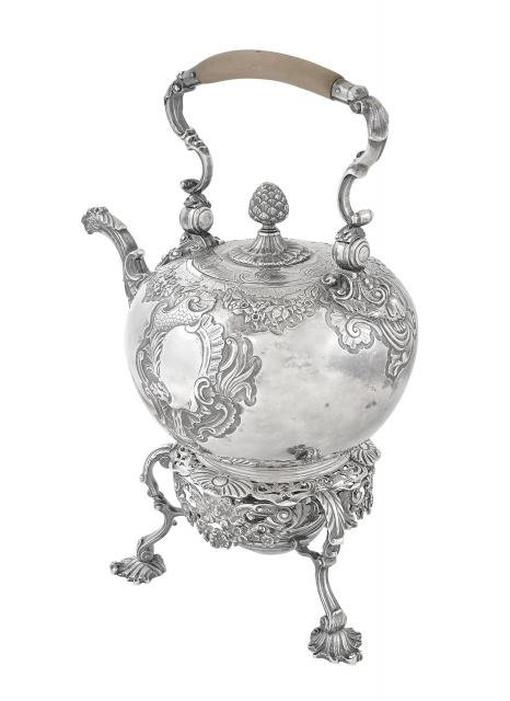 George II sterling silver kettle on stand, Peter Taylor, London, 1741