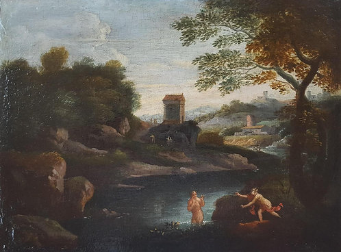 Gaspard Dughet (attributed) 'Diana and Callisto', 17thc oil on canvas