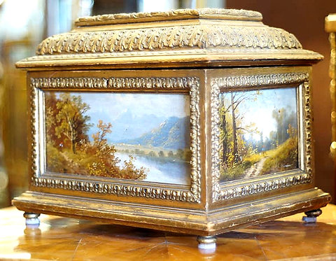 An early 20th C jewel casket with handpainted panels