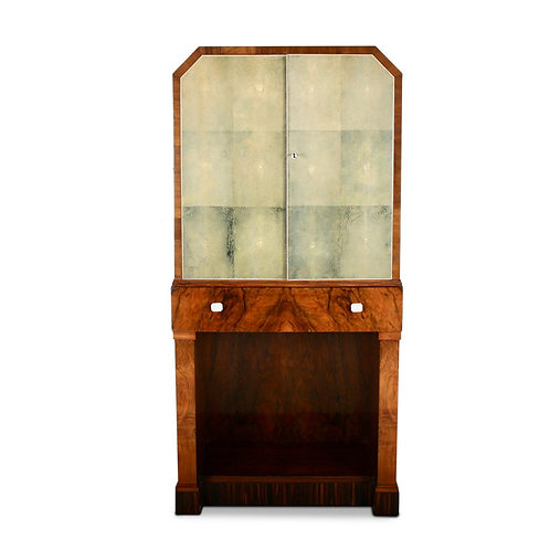 An English Art Deco liquor cabinet with shagreen doors & fitted interior, c1930